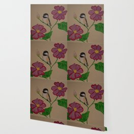 Chickadee & Flowers Wallpaper
