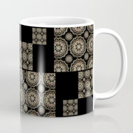 Large Rose-Gold and Black Floral Mandala Textile Piece Coffee Mug
