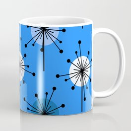 Atomic Era Sputnik Starburst Flowers Blue Coffee Mug