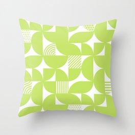 Lime Green Mid Century Bauhaus Semi Circle Pattern Throw Pillow