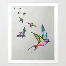 Swallows in Flight Art Print