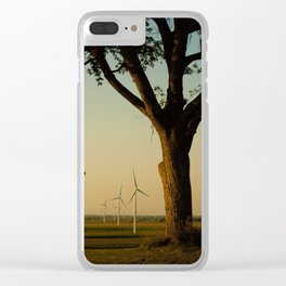 Sunset Turbines in Nature Clear iPhone Case