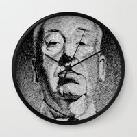 hitchcock Wall Clocks featuring Fingerprint - Hitchcock by Nicolas Jolly