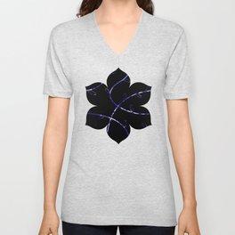 Jagged leaves, dark blue Unisex V-Neck