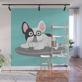 I love my bed - Lazy French Bulldog Wall Mural