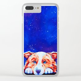 Big Dreams - Border Collie Dog Painting Clear iPhone Case