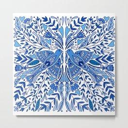Folk Art Bird | Blue Bird | Scandinavian Folk Art | Nature Metal Print