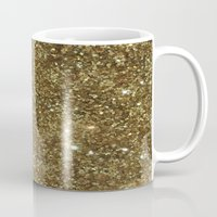 gold glitter Mugs featuring Gold Glitter by NatalieBoBatalie
