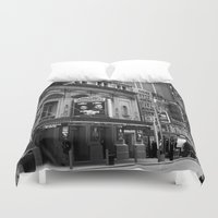 theatre Duvet Covers featuring The Loncre Theatre by Maria Goldaracena