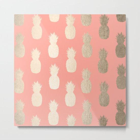 Gold Pineapples on Coral Pink Metal Print