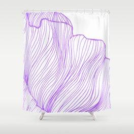 Sea waves line illustration Purple Modern Minimalist drawing. Shower Curtain