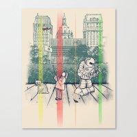 kurt vonnegut Canvas Prints featuring God Bless You, Kurt Vonnegut! by Robbie Lee