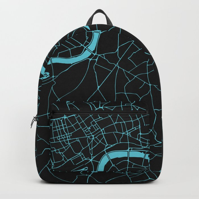 Black on Turquoise London Street Map Backpack