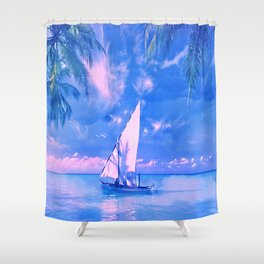 Tropical yachting Shower Curtain