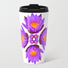 Purple Lily Flower - On White Travel Mug