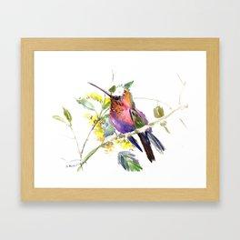 Hummingbird, beautiful decor colorful bird art Framed Art Print