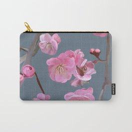 painted plum blossom green grey Carry-All Pouch