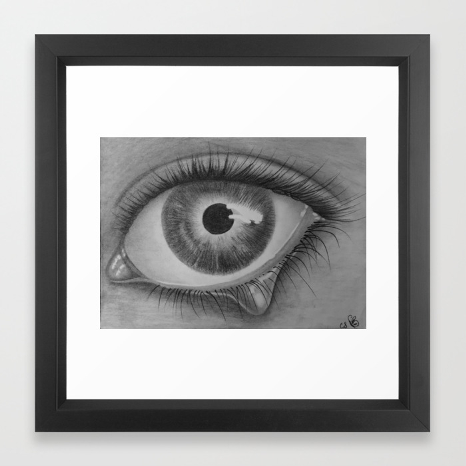 Black and white sad eye with tear framed art print by redchanteuse society6