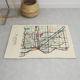 Colorful City Maps: Milwaukee, Wisconsin Rug