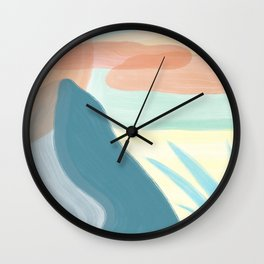 Desert Land // Mountains Sun Clouds Agave Plant Sand Simple Digital Acrylic Landscape Painting Wall Clock