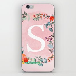 Flower Wreath with Personalized Monogram Initial Letter S on Pink Watercolor Paper Texture Artwork iPhone Skin
