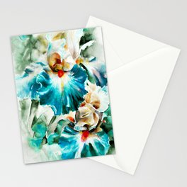 Beautiful watercolor flowers,background of flower petals in rich blue and green tones. H watercolor Stationery Cards
