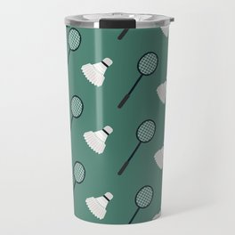 Green Badminton Pattern Travel Mug