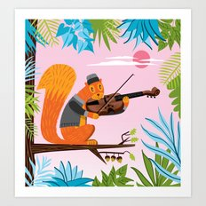 Red Squirrel Serenade Art Print
