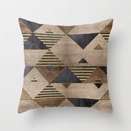 Geometric Wooden texture pattern Throw Pillow