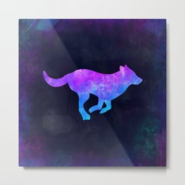 DOG RUNNING IN SPACE // Animal Graphic Art // Watercolor Canvas Painting // Modern Minimal Cute Metal Print