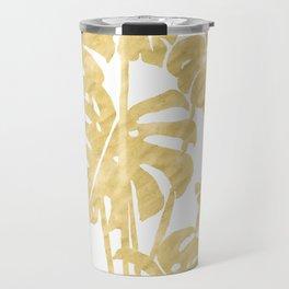 Delicate Monstera Golden #society6 Travel Mug