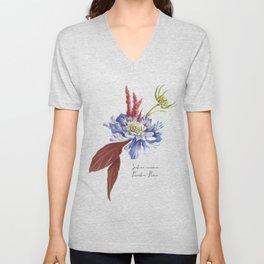 Blue Scabiosa Flower Unisex V-Neck