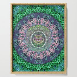 Iridescent Cosmic Eye Depth Meditation Transcendental Mandala Serving Tray