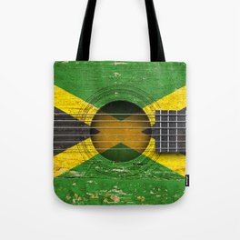 Old Vintage Acoustic Guitar with Jamaican Flag Tote Bag