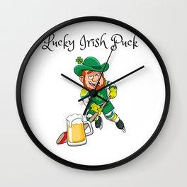 Lucky Irish Puck - Funny and Unique Irish Hockey St. Patrick's Day Design Wall Clock