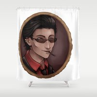 crowley Shower Curtains featuring Crowley (white) by Abbi Laura