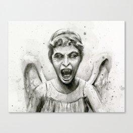 Weeping Angel Watercolor Canvas Print