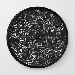 Watercolor Chinoiserie Block Floral Print in Black Ink Porcelain Tiles Wall Clock
