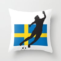 sweden Throw Pillows featuring Sweden - WWC by Alrkeaton