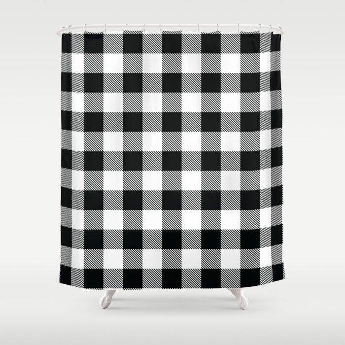 Buffalo Check Black White Plaid Pattern Shower Curtain