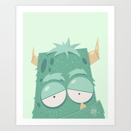 Cute Monster Green Art Print