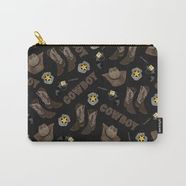 Cowboy Typography Artsy Cool Brown Watercolor Carry-All Pouch