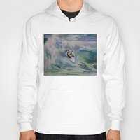 surfer Hoodies featuring Panda Surfer by Michael Creese