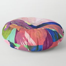 Peach Canna Lily Abstract Watercolor - Floral Art Print Floor Pillow