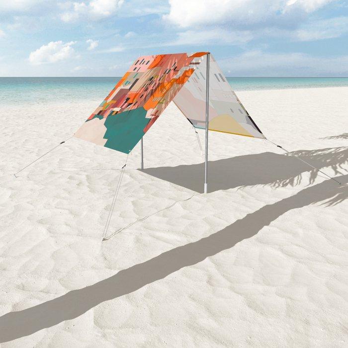 italy coast houses minimal abstract painting Sun Shade