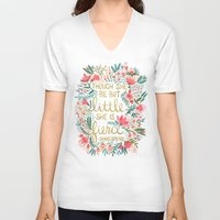 floral V-neck T-shirts featuring Little & Fierce on Charcoal by Cat Coquillette