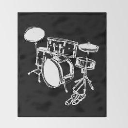 Drum Kit Rock Black White Throw Blanket