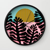 coachella Wall Clocks featuring B.F.F. - throwback 80s style memphis design neon art print hipster brooklyn palm springs resort patt by Wacka