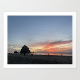 Canon Beach Haystack Rock Sunset Art Print