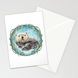 Sea Otter in Kelp Wreath Stationery Cards